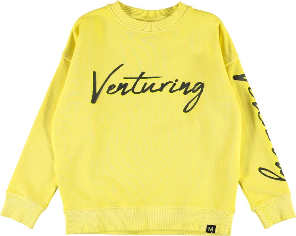 Max - Lemon - Yellow sweatshirt with venturing text