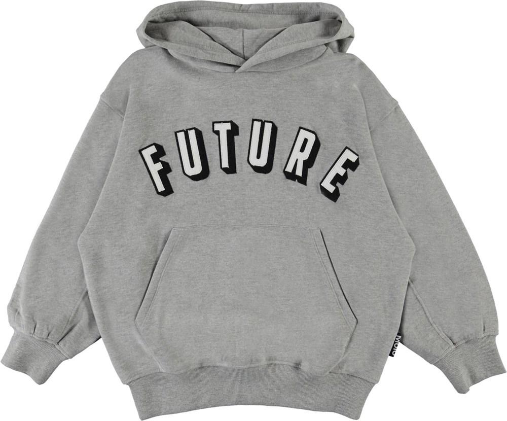 Maxx - Grey Melange - Grey organic hoodie  future