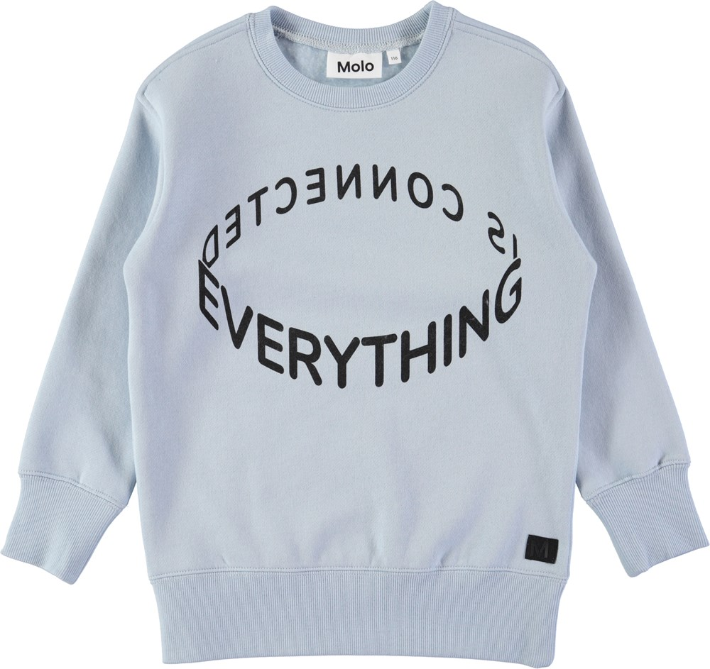 Mentor - Ice Blue - Light blue sweatshirt with digital text print