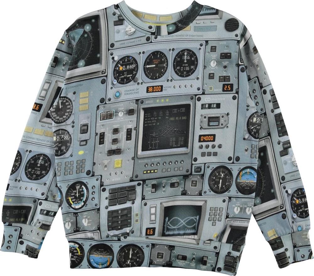 Mik - Cockpit - Light blue, organic sweatshirt with cockpit print