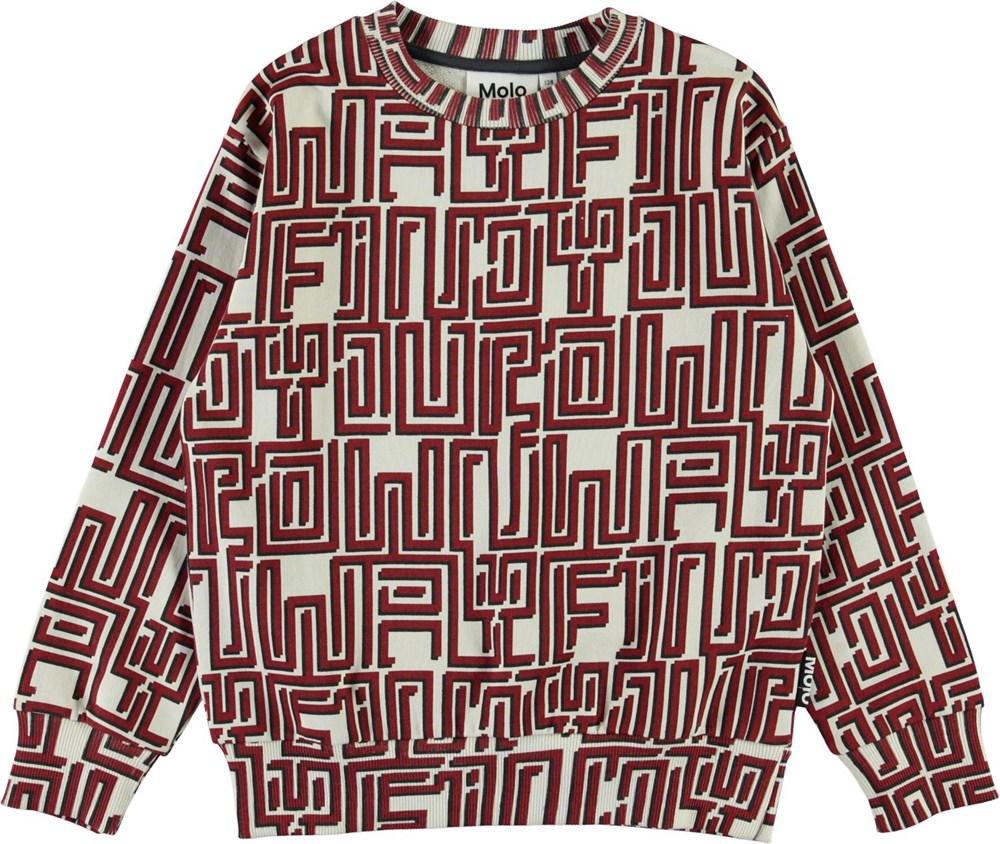 Mik - Find Your Own Way R - Organic sweatshirt with red labyrinth print