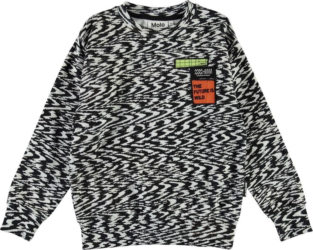 Mik - Interference - Black and white organic sweatshirt