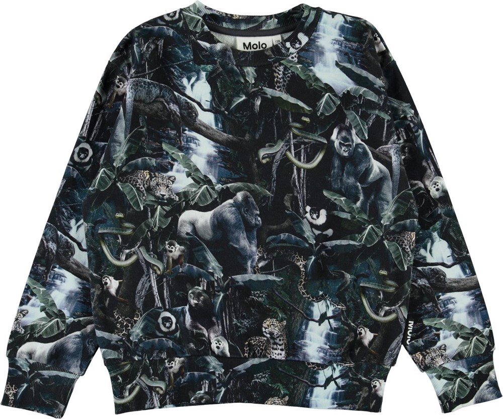 Mik - Moonlit Jungle - Organic sweatshirt with jungle animals