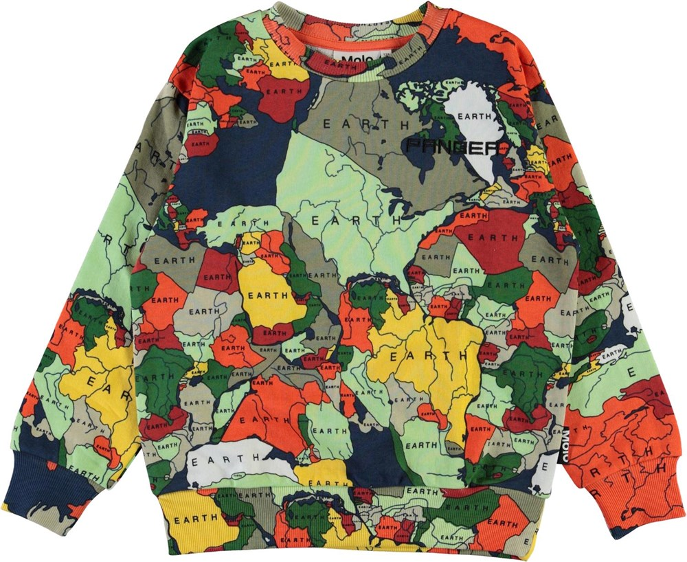 Mik - Pangea Map - Organic pangea sweatshirt with countries