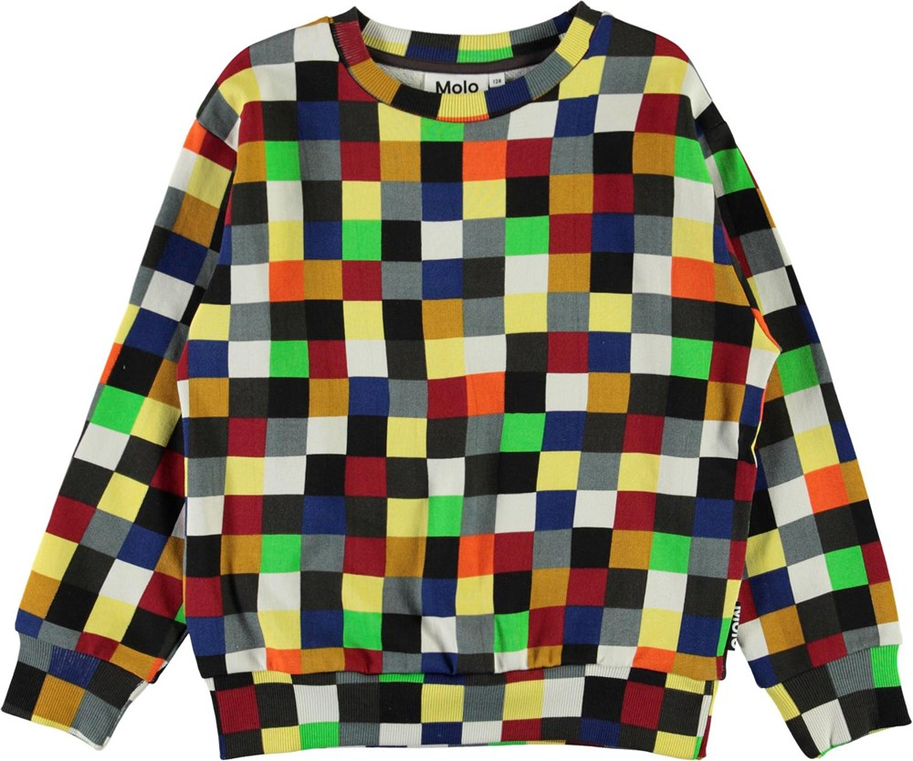 Mik - Pixels - Organic sweatshirt with coloured squares