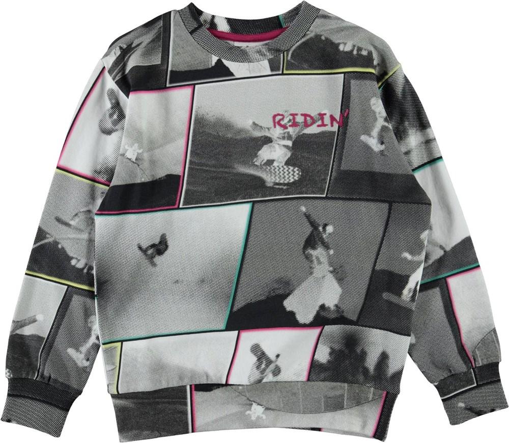 Mik - Snowboarding2 - Grey organic sweatshirt with snowboarder print