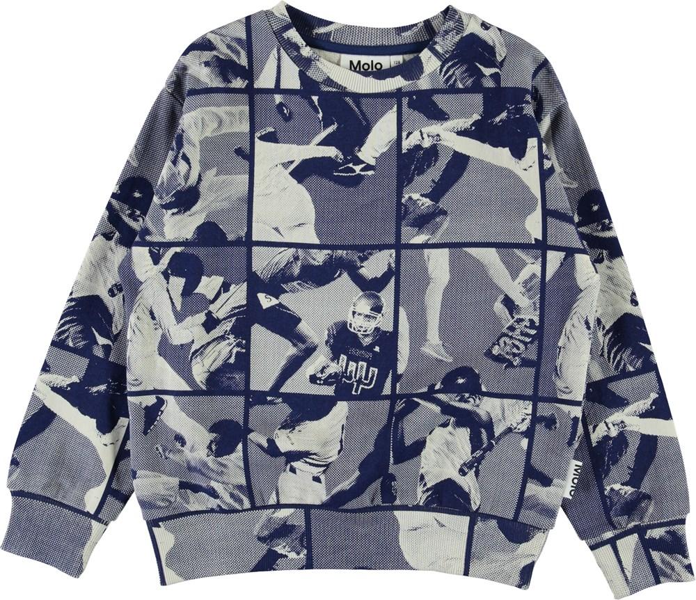 Mik - Sports Mix Blue - Blue sports organic sweatshirt
