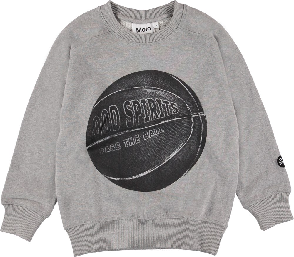 Mike - Basket Play - Grey sweatshirt with basketball.