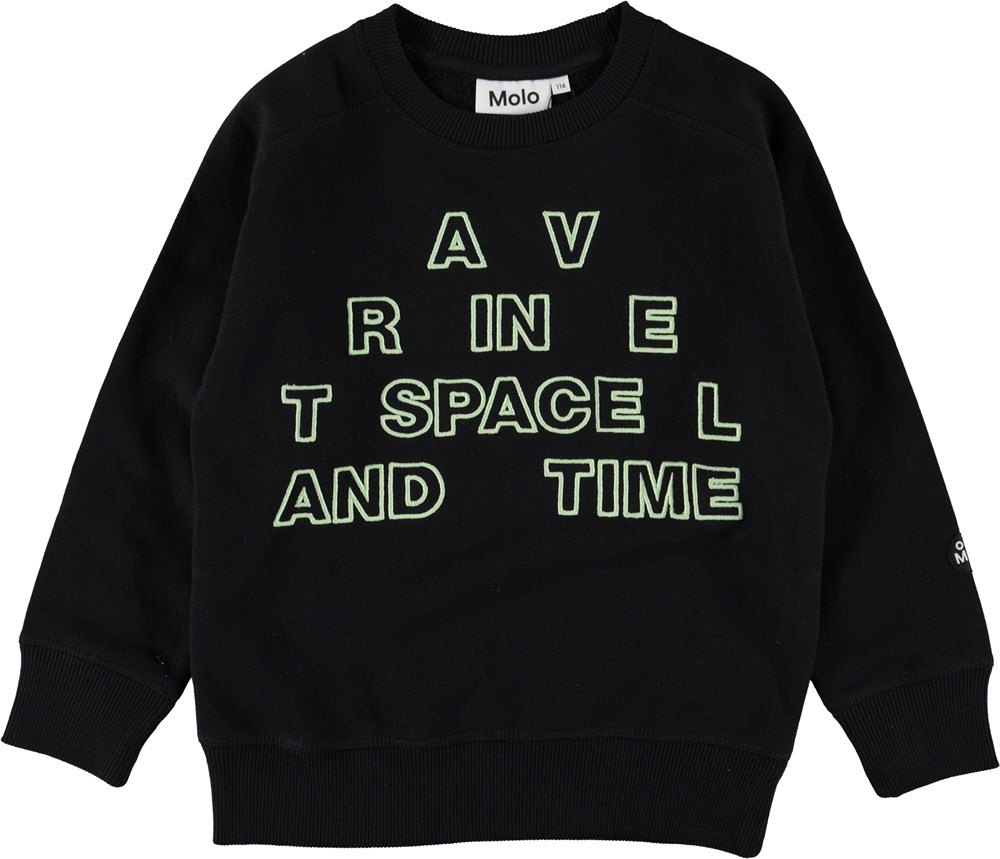 Mike - Black - Sweatshirt with glowing letters.