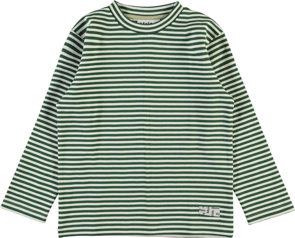 Mikhail - Green Stripe - Green and white striped organic sweatshirt