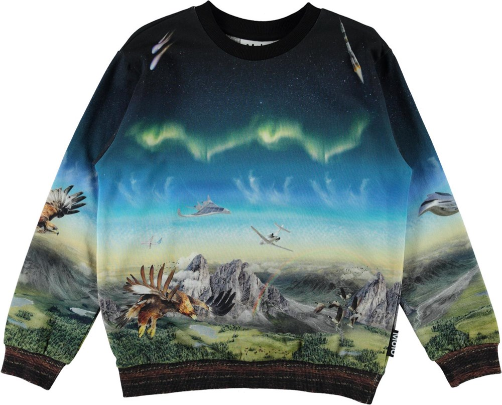 Miksi - Entirety High - Blue organic sweatshirt with eagles and airplane print