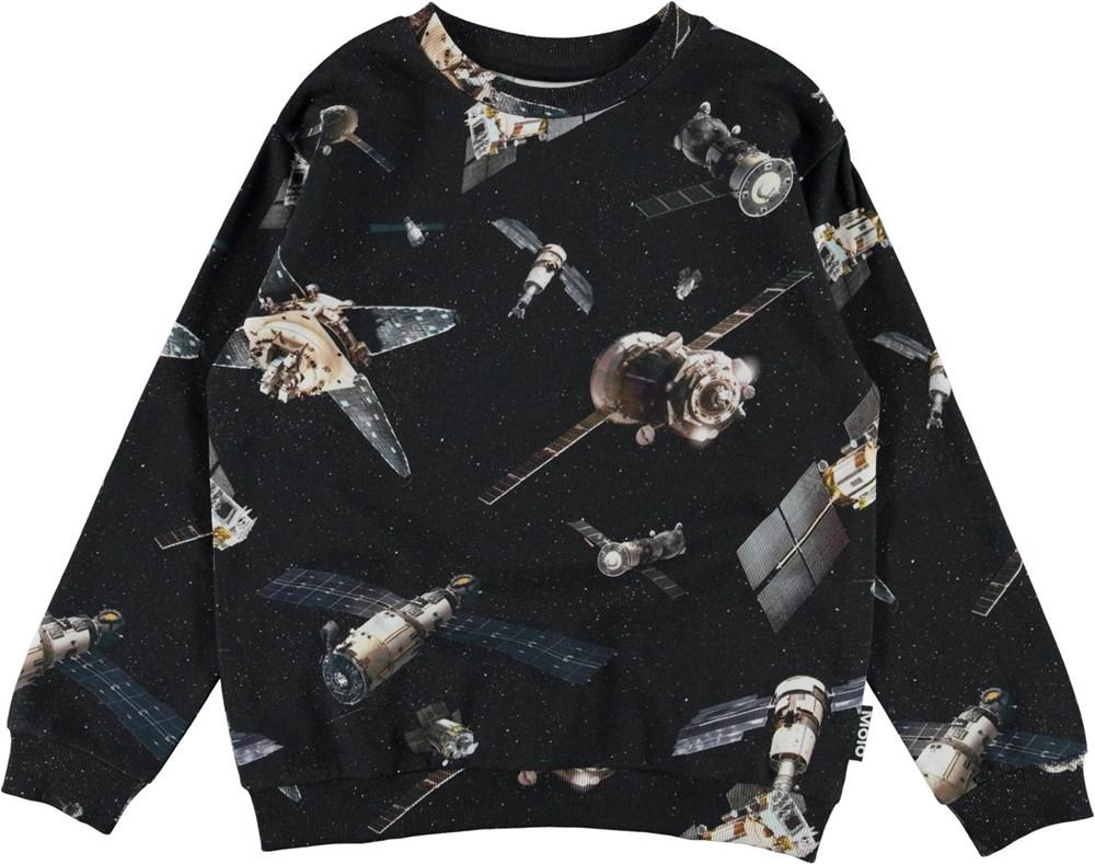 Miksi - Space Satellite - Black organic sweatshirt with satellite print