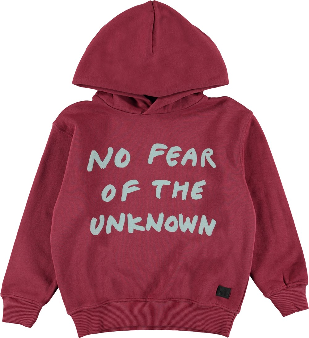 Miles - Wild Madder - Red hoodie with text.