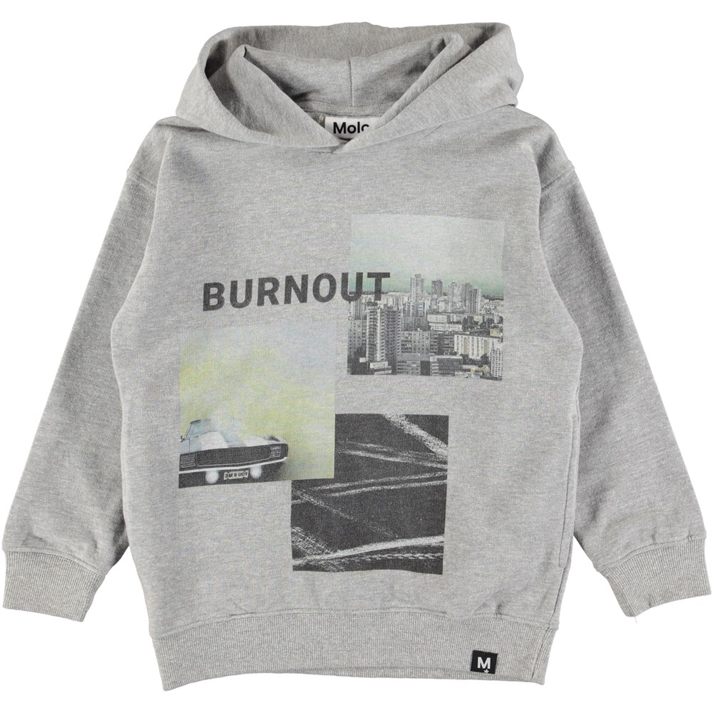 Mino - Burnout Collage - Grey hoodie with digital burnout print
