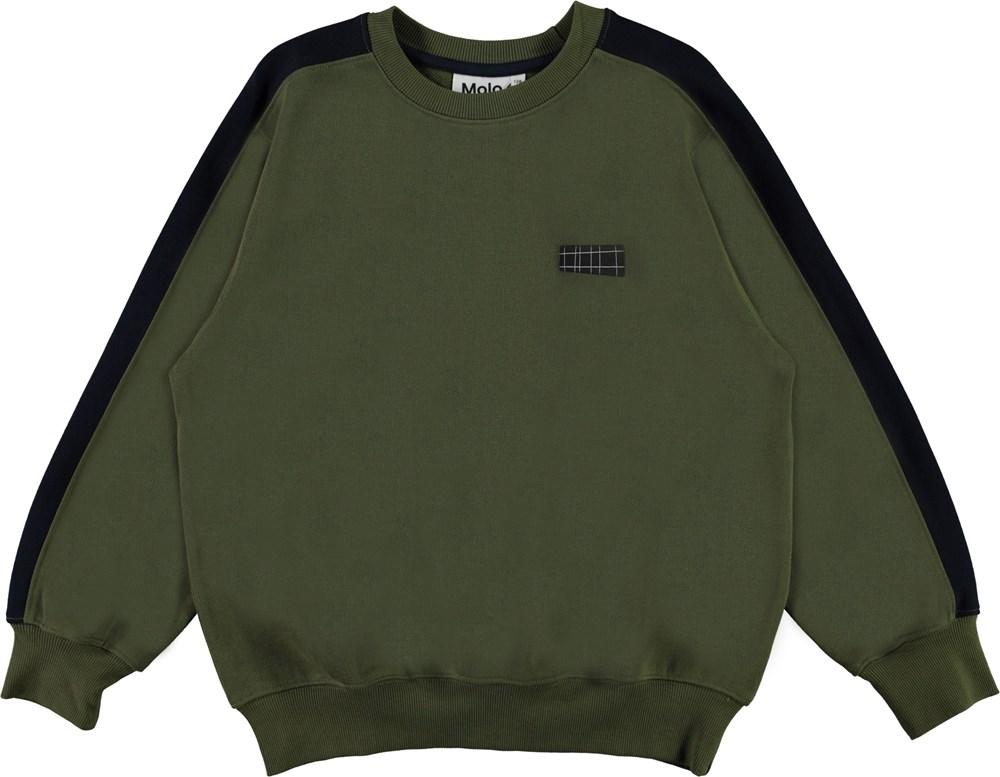 Mir - Duo - Green organic sweatshirt with blue sleeves