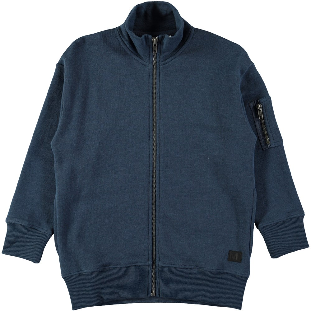 Moes - Infinity - Dark blue sweatshirt with high neck and zipper