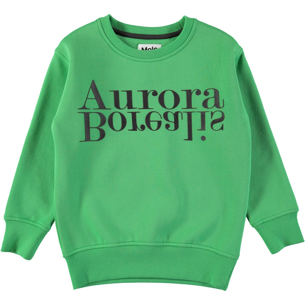 Mogens - Aurora Borealis - Green sweatshirt with black letters