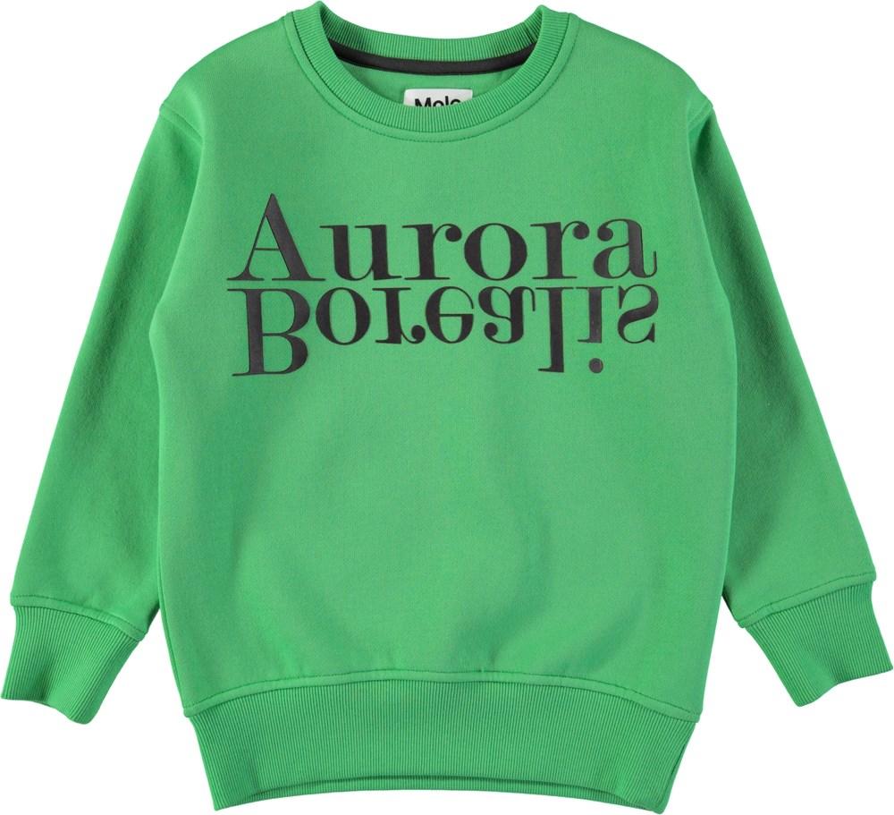 Mogens - Aurora Borealis - Green sweatshirt with black letters