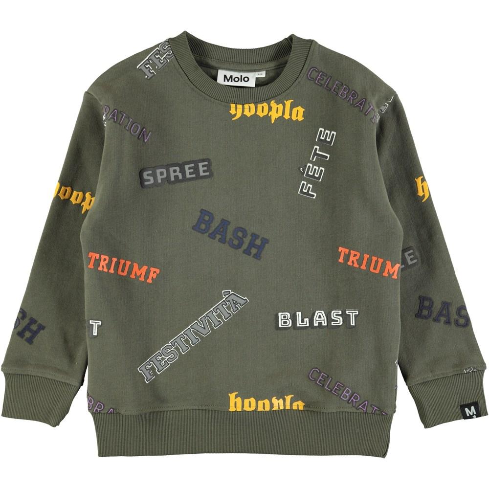 Mogens - Crocodile - Green sweatshirt with graphic text