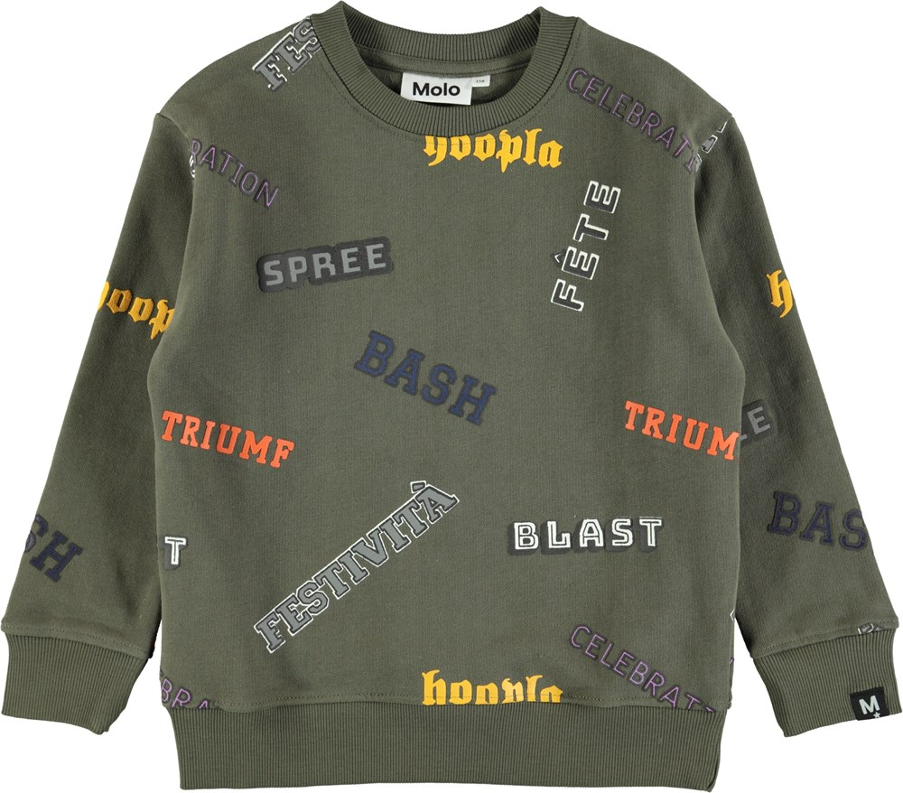 Mogens - Crocodile - Green sweatshirt with graphic text