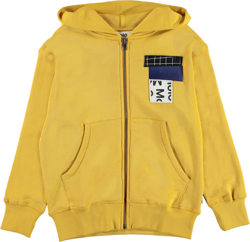 Mok - Afternoon Sun - Yellow hoodie with patches
