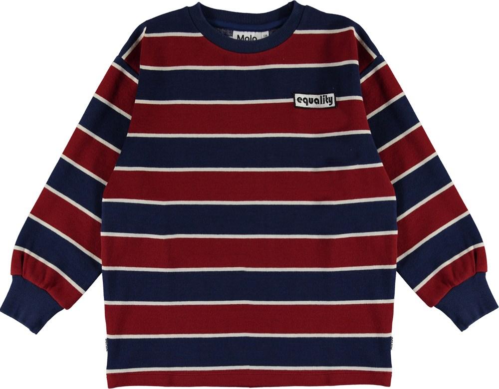 Monau - 3 Colour Stripe - Equality sweatshirt  in blue and bordeaux
