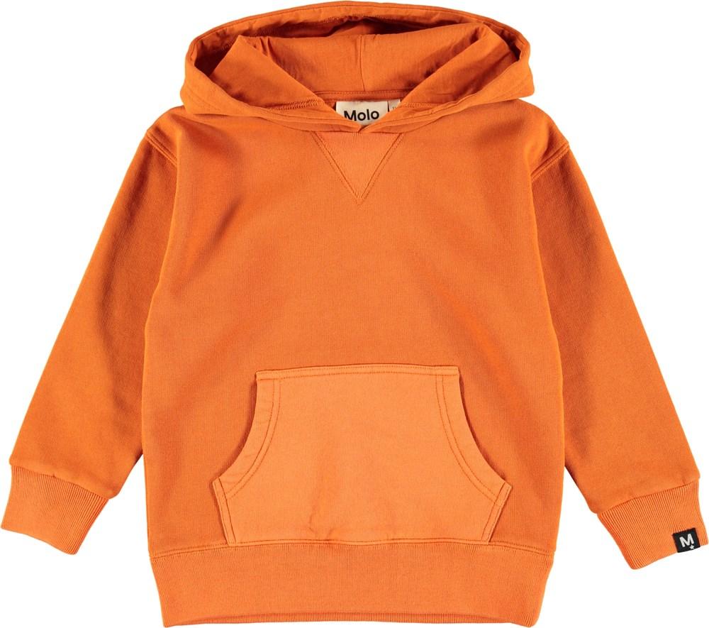 Monez - Burnout - Orange hoodie with pouch pocket