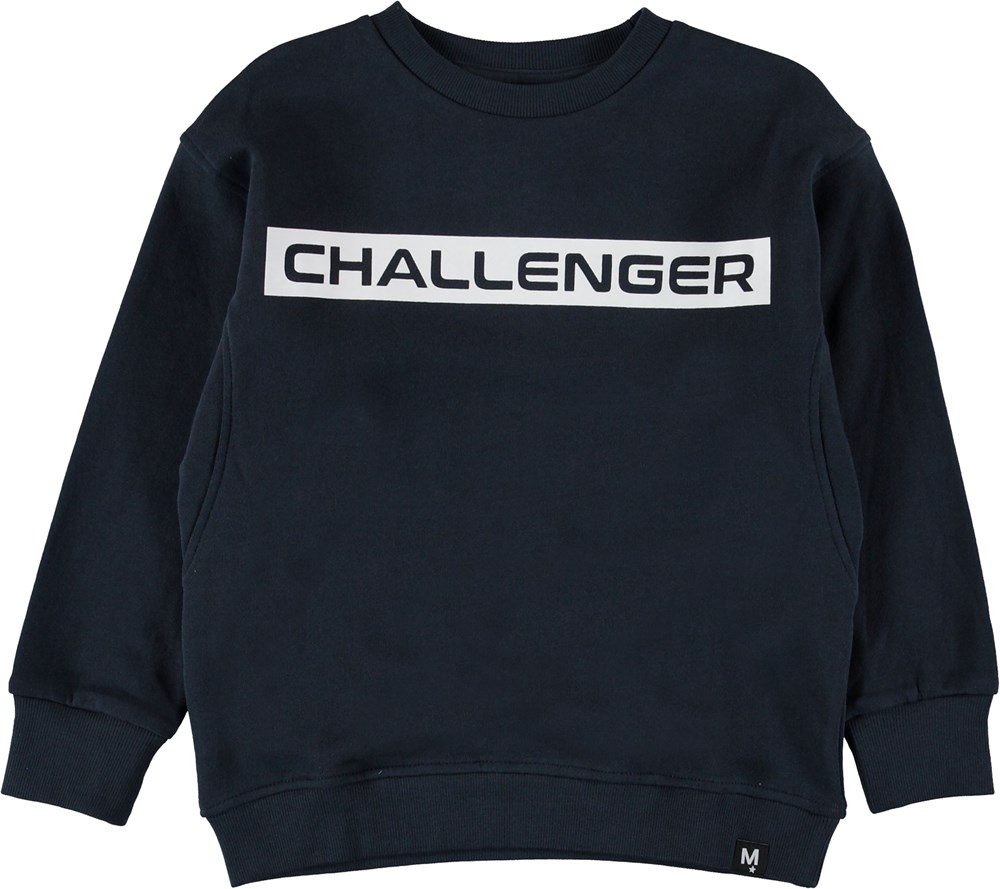 Mons - Carbon - Blue sweatshirt with text.