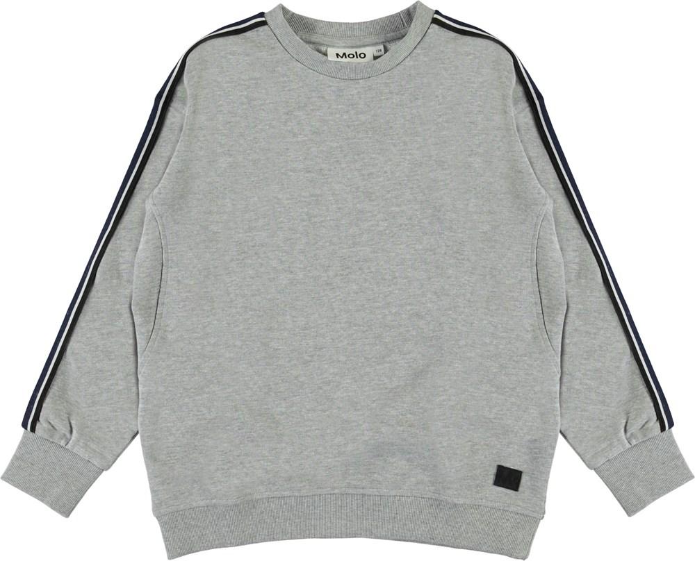 Mons - Grey Melange - Grey sweatshirt with stripes
