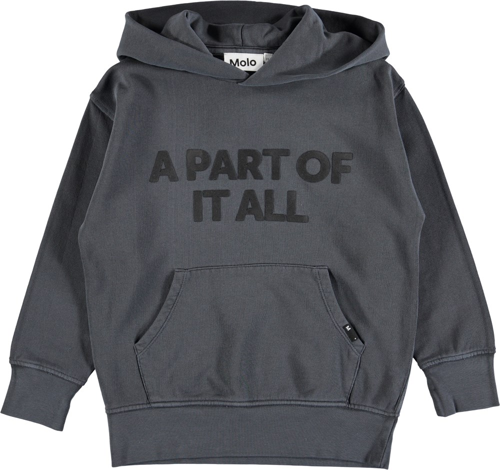 Monty - Dark Grey - Dark grey hoodie with a pouch pocket and graphic text