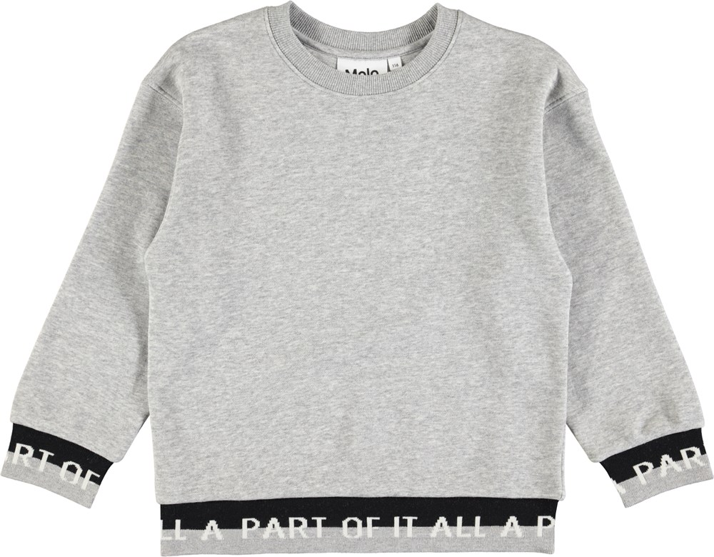 Morrissey - Grey Melange - Grey sweatshirt with patterned rib