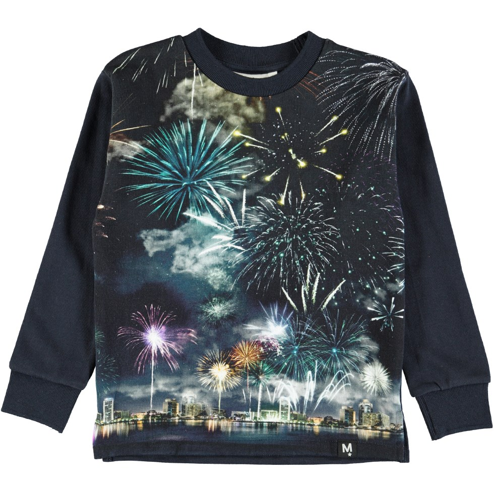 Mount - Firework - Dark blue cotton jumper with a digital fireworks print