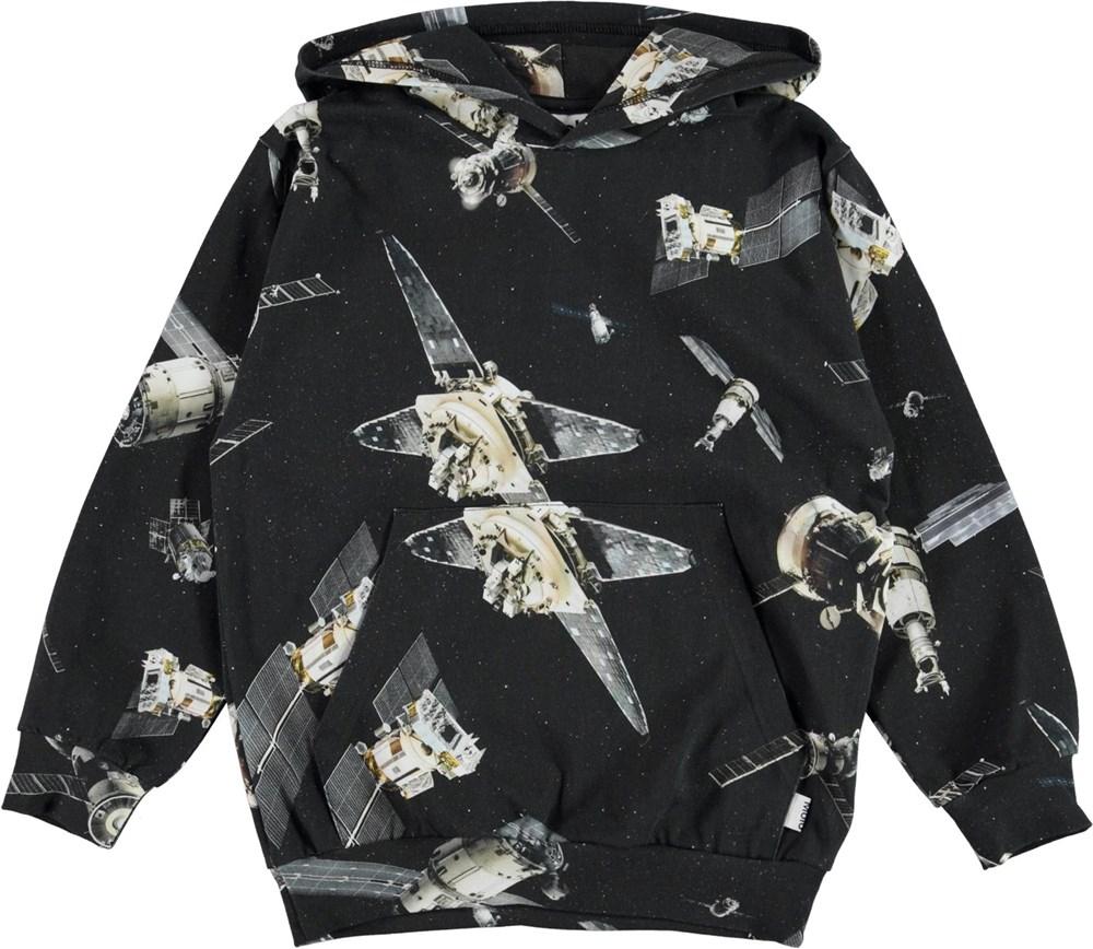 Mowmi - Space Satellite - Black organic hoodie with satellite print