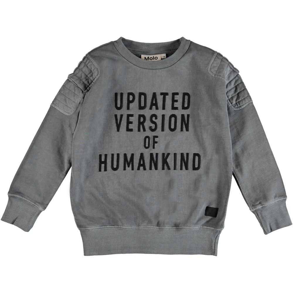 Mozi - Pewter - Grey sweatshirt with embroidered text.
