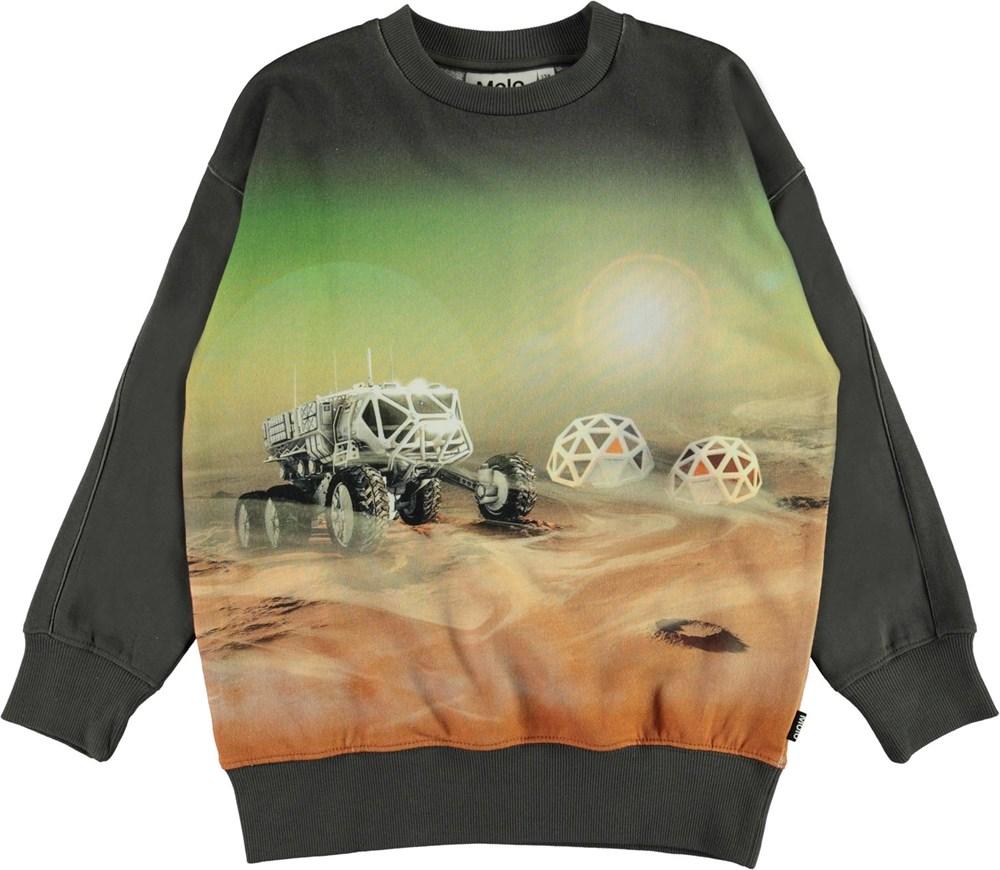 Mozy - Mars Living - Green organic sweatshirt with Mars print