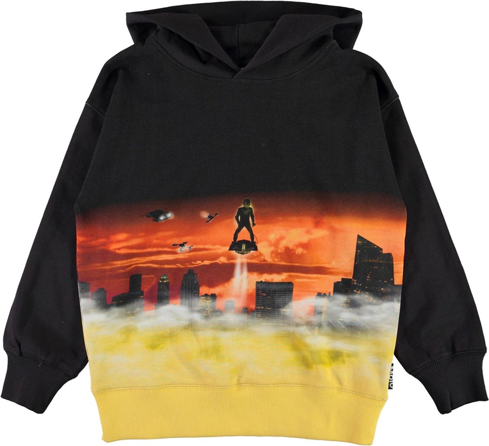 Mozzy - Above The City - Black and yellow hoodie with flying man