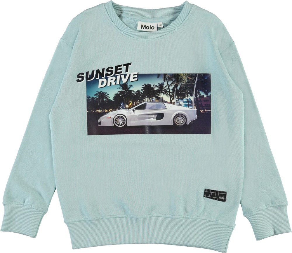 Murphy - Sunset Drive - Light blue organic sweatshirt with car print