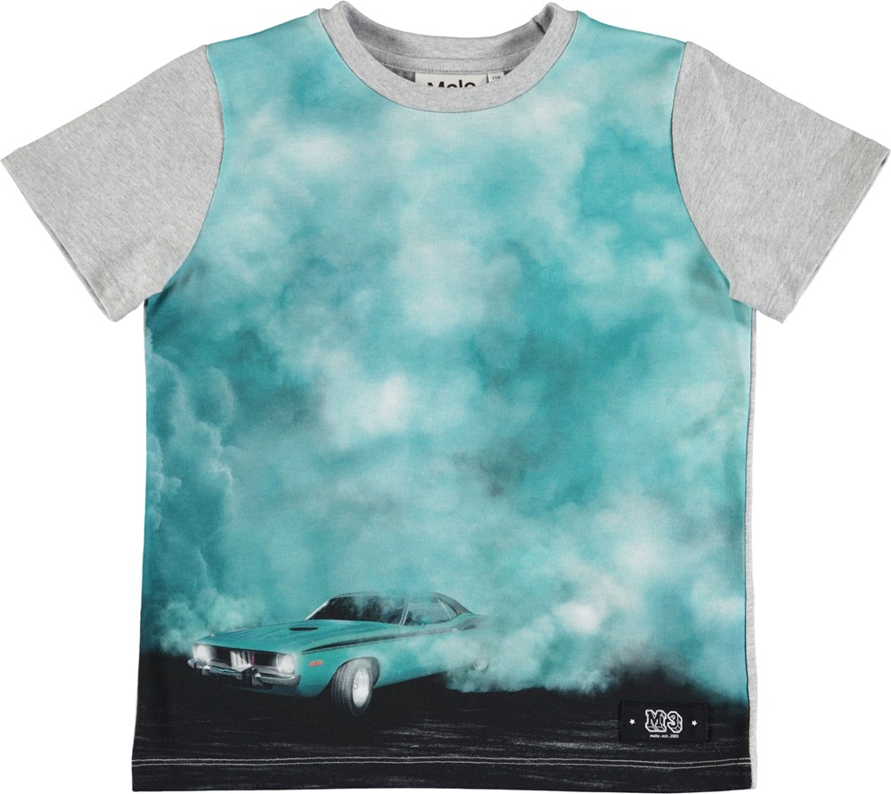 Raddix - Burnout Smoke - Grey t-shirt with a blue digital car exhaust print