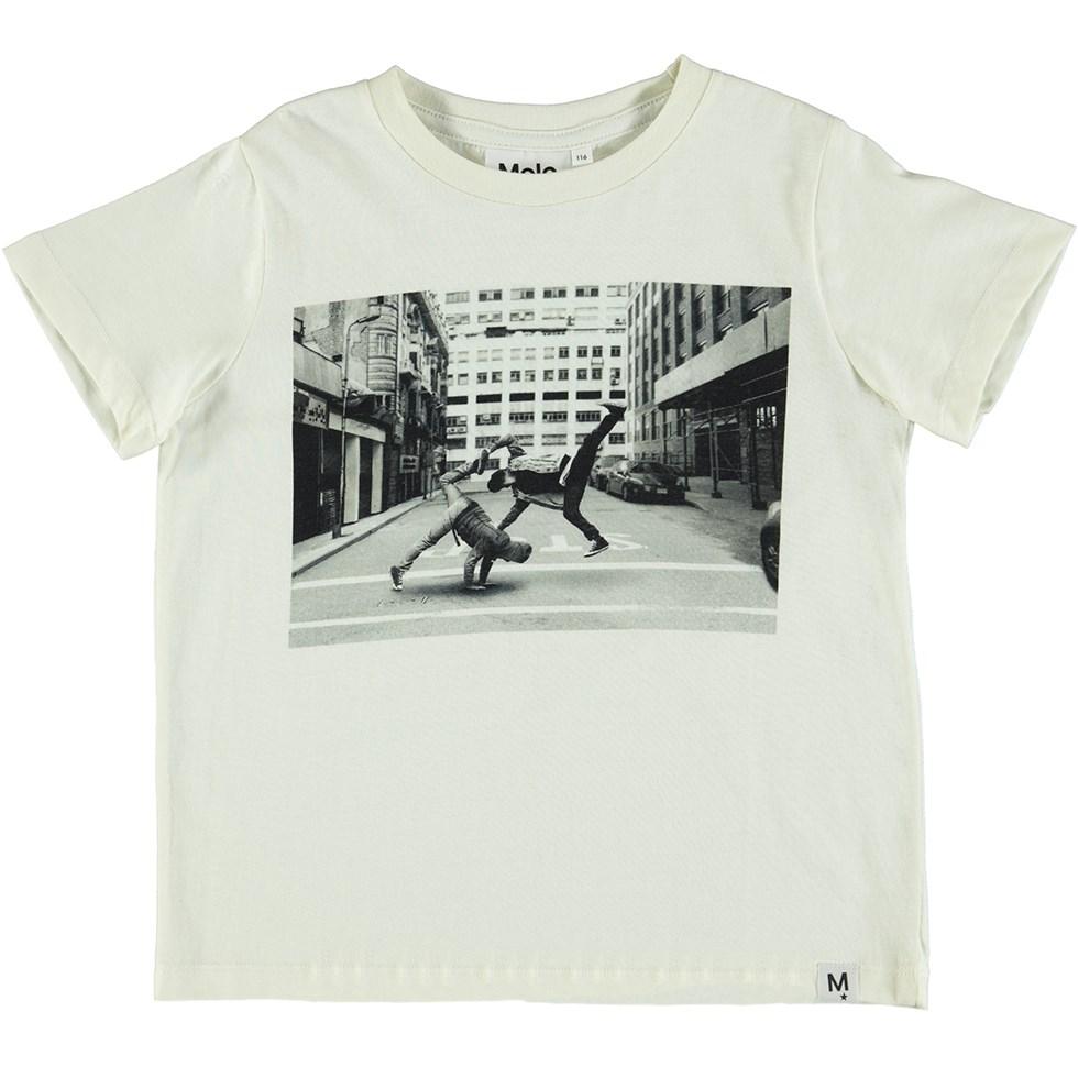 Raddix - Dirty White - White t-shirt with a digital breakdance print