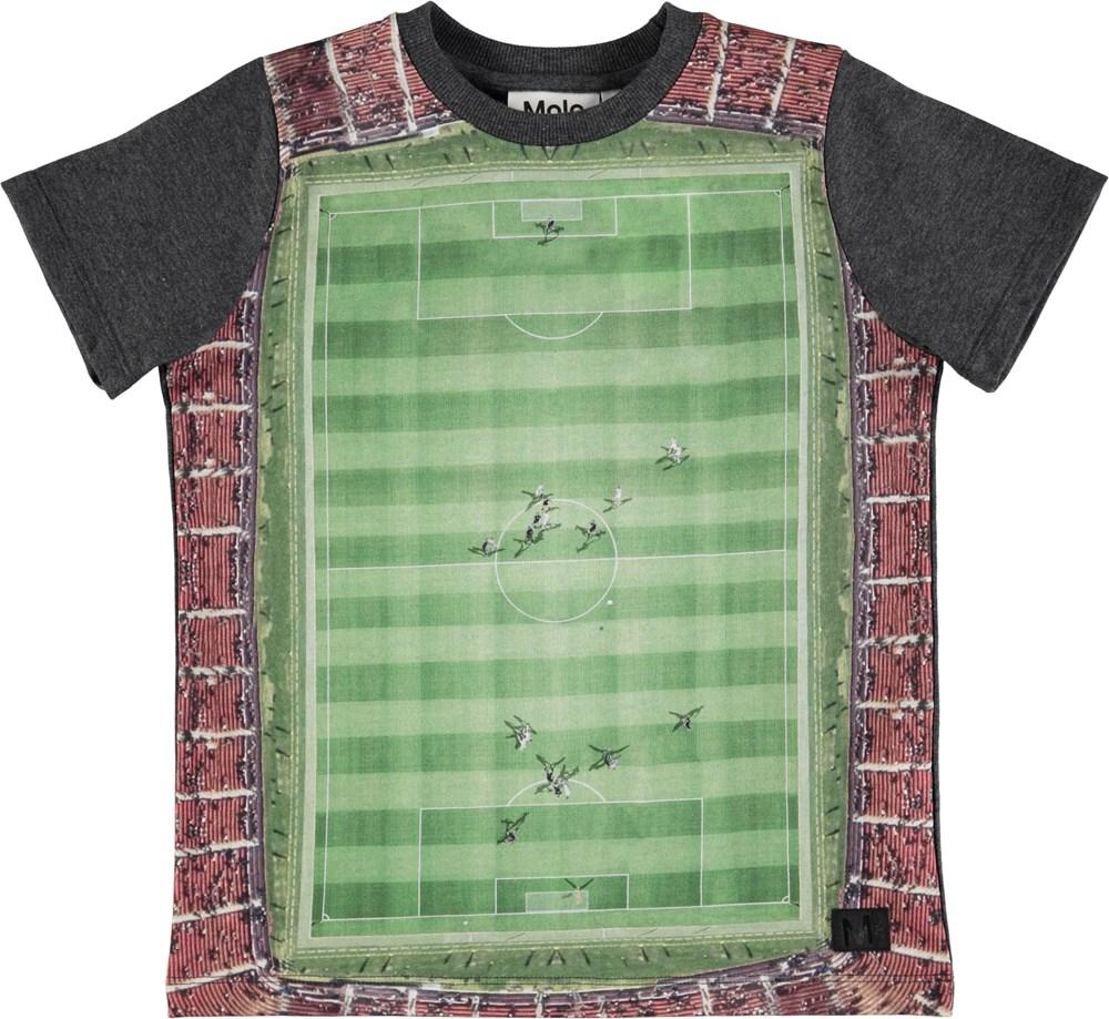 Raddix - Footballfield - Dark grey t-shirt with a football pitch print