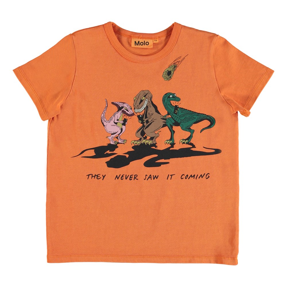 Raddix - Jaffa Orange - T-shirt with dinosaur print.