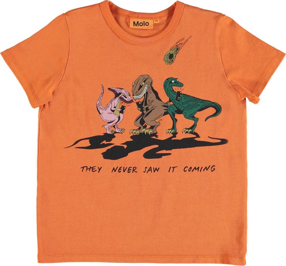 Raddix - Jaffa Orange - T-shirt with dinosaur print.