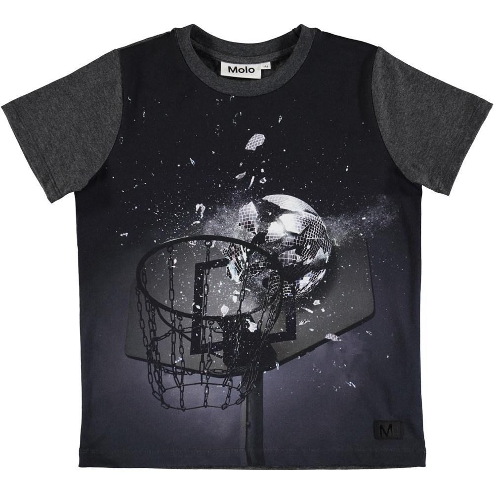 Raddix - Mirrorball - Dark Grey t-shirt with a digital basketball hoop print
