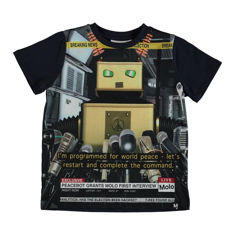 Raddix - Peace Bot - T-shirt with news robot.