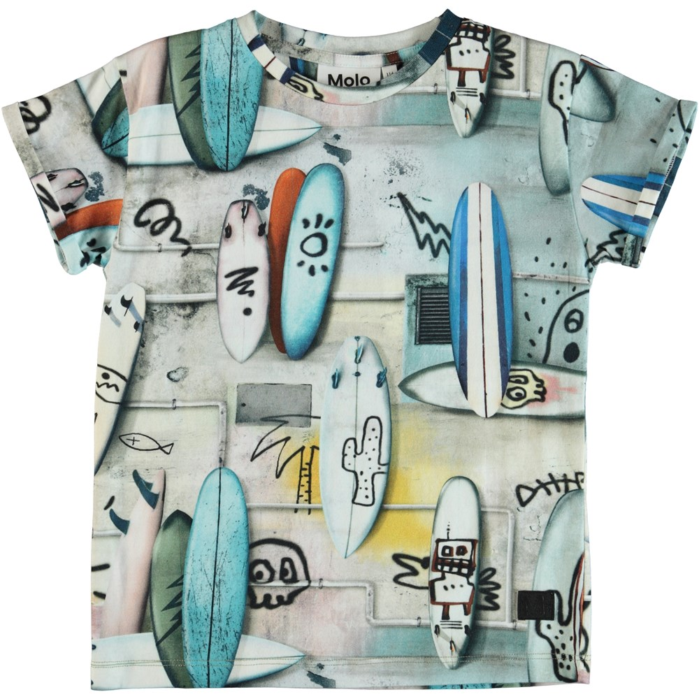Rafe - Summer Walls - T-shirt with surfboards and grafitti.