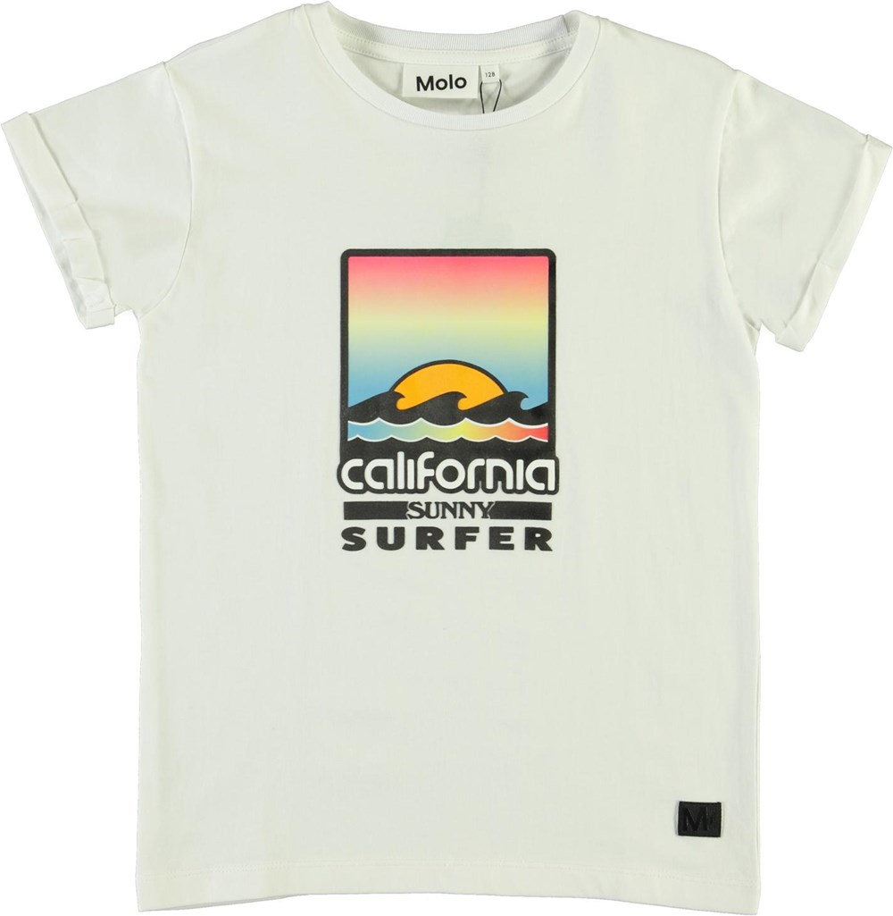 Rafe - White - White organic t-shirt with California print