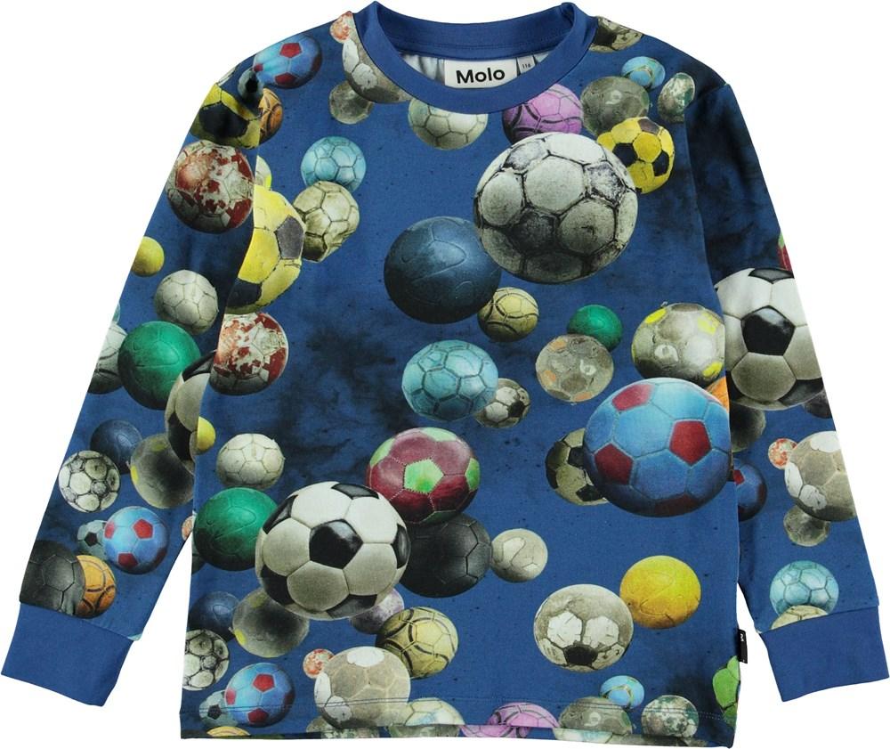 Rai - Cosmic Footballs - Blue top with footballs.