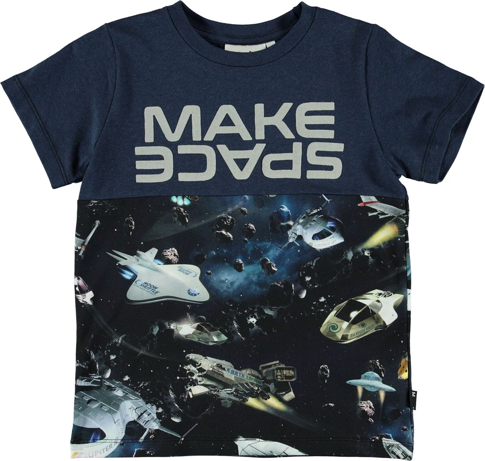 Ral - Space Traffic - Blue t-shirt with spaceships.