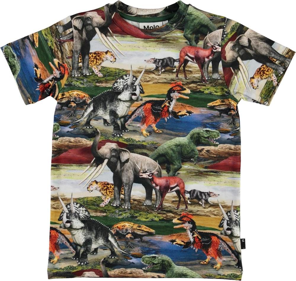 Ralphie - Ancient World - Organic t-shirt with prehistoric animal print