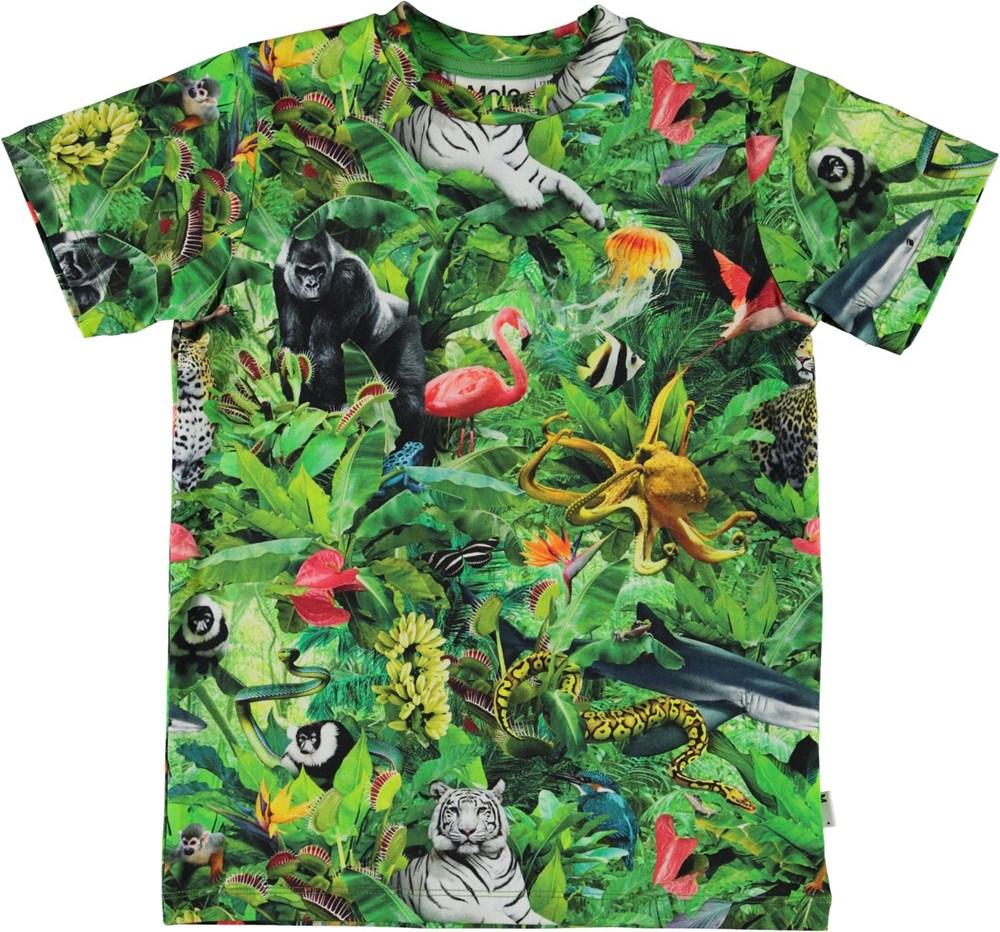 Ralphie - Fantasy Jungle - Organic t-shirt with animal print
